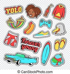 brandung, lebensstil, badeurlaub, abbildung, vektor, teenager, board., doodle., aufkleber