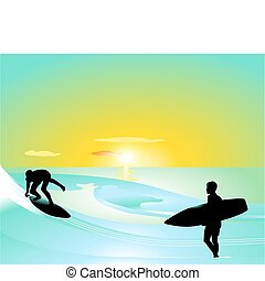 brandung, reiten, wave-board