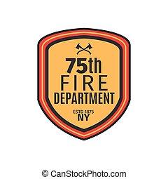 brandweer, badge, schild