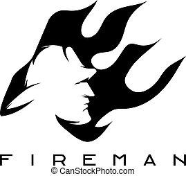 brandweerman, abstract, vector, vlam, mal, ontwerp