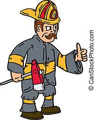 brandweerman, brandweerman, op, duimen, bijl, spotprent