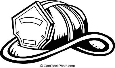 helm brandweerman rood afdrukken vector of