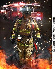brandweerman, het arriveren, op, een, gevaarlijk