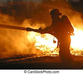 brandweerman, met, slang