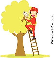 brandweerman, reddingen, kat
