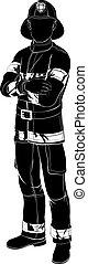 brandweerman, silhouette, of, brandweerman