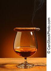 Brandy Glass with Cigar