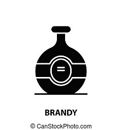 brandy icon, black vector sign with editable strokes, concept symbol illustration