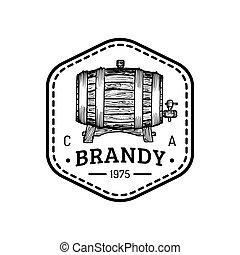 Brandy logo. Vector cognac sign with wooden barrel. Typographic label with hand sketched keg for restaurant, bar menu.