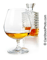 Brandy snifter with decanter - Aged golden brandy or cognac...