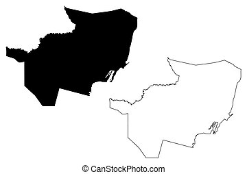 Brantley County, Georgia (U.S. county, United States of America, USA, U.S., US) map vector illustration, scribble sketch Brantley map