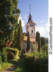 bra?ov, 1824-1826, emlékmű, románia, templom, szent trinity, történelmi, épít, transylvania