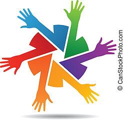bras, équipe, vecteur, coloré, main