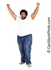bras, américain, africaine, haut, homme