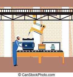 bras, atelier, moteur voiture, fonctionnement, machine, industriel, paysage, mécanicien
