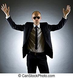bras augmentés, homme affaires, sien
