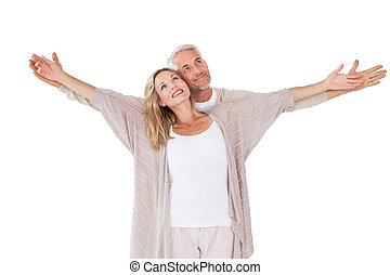 bras, couple, debout, tendu, heureux