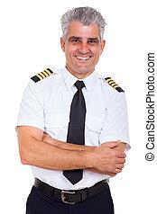 bras croisés, ligne aérienne, personne agee, capitaine, beau