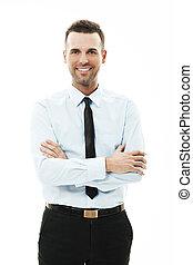 bras croisés, portrait, homme affaires, sourire