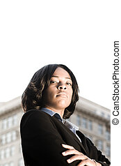 bras, dur, traversé, américain, femme affaires, africaine