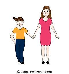 bras, fils, garde, adolescent, mère