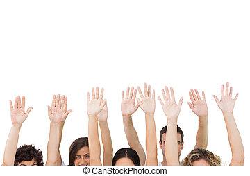 bras, gens, groupe, élévation