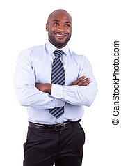 bras, homme, business, américain africain, plié