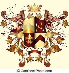 bras, manteau, héraldique, bouclier, ornement, couronne