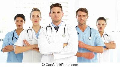 bras, monde médical, sérieux, équipe, cro
