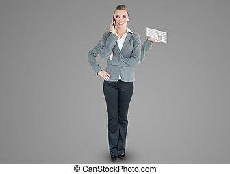 bras, multi-tasking, quatre, femme affaires