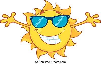 bras ouvrent, été, soleil, sourire