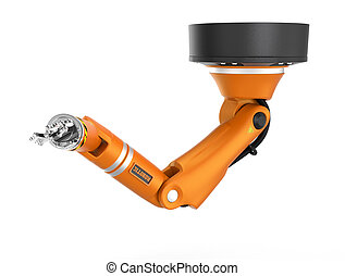 bras robotique, plafond, blanc, orange