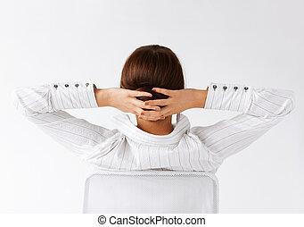 bras, tête, femme, décontracté, dos