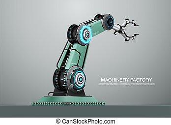 bras, usine, robot, robotique, main, machine