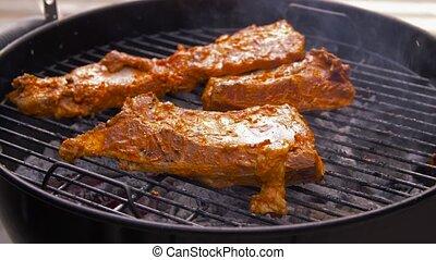 brasero, barbecue, torréfaction, gril, viande, dehors