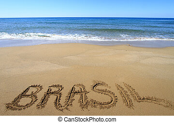 brasil, írott, képben látható, sandy tengerpart