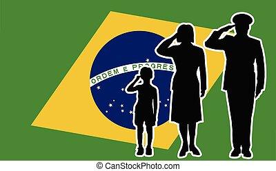 brasil, 兵士, 家族, 挨拶