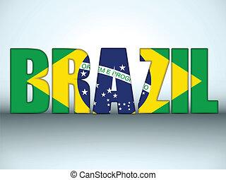 brasil, 2014, cartas, con, bandera brasileña