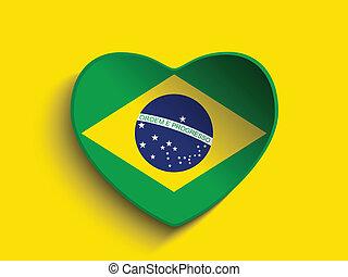 brasil, 2014, corazón, con, bandera brasileña
