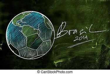 brasil, 2014, szárazföld labda, skicc