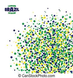 brasil, abstratos, cores, bandeira, fundo, usando, ponto