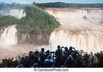 brasil, arco irirs, iguazu, encima, magnífico, cascadas