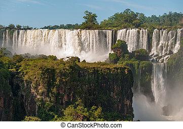 brasil,  Argentina, cascadas,  Iguassu, contiguas