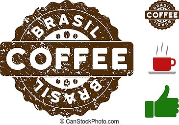 Brasil Award Stamp with Grunge Texture