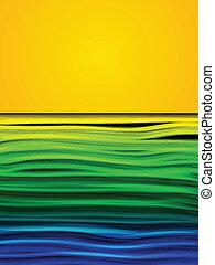 brasil, azul, amarillo, onda, bandera, fondo verde
