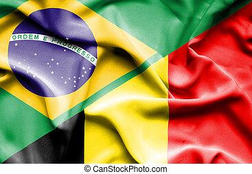brasil, bélgica, bandeira acenando