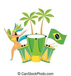 brasil, bailarín, carnaval