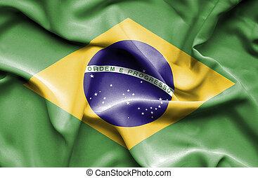 brasil, bandera ondeante