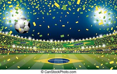 brasil, bola, luz, vetorial, estádio, futebol