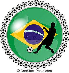 brasil, botón, futbol